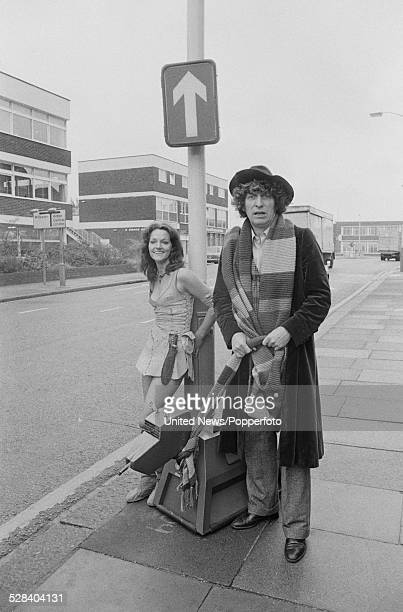 English actors Tom Baker and Louise Jameson who play the characters of The Doctor and Leela in the science fiction television series Doctor Who...