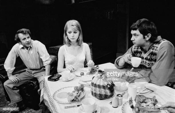 English actors Victor Henry Jane Asher and Martin Shaw at a rehearsal for Anthony Page's revival of John Osborne's play 'Look Back In Anger' at the...