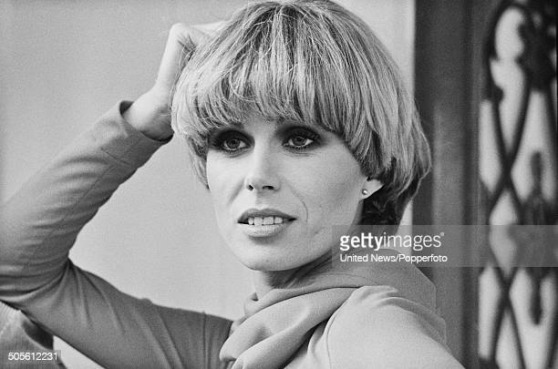 English actress and model Joanna Lumley posed at a press reception to launch the television series The New Avengers at Pinewood Studios in England on...