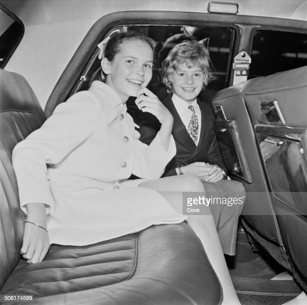English actress and singer Fiona Fullerton and English actor Mark Lester pose for cameras whilst working together on 'Run Wild Run Free' 16th May 1969