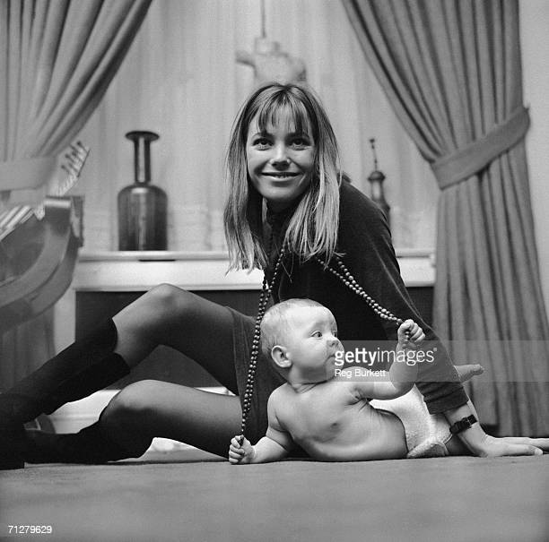 English actress and singer Jane Birkin with 7monthold Kate Barry her daughter by composer John Barry 9th November 1967