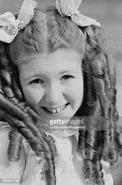 English actress Bonnie Langford pictured dressed in character as Violet Elizabeth Bott from the children's television series Just William in London...