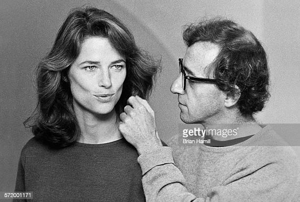 English actress Charlotte Rampling and actor director Woody Allen on the set of their film 'Stardust Memories' 1980