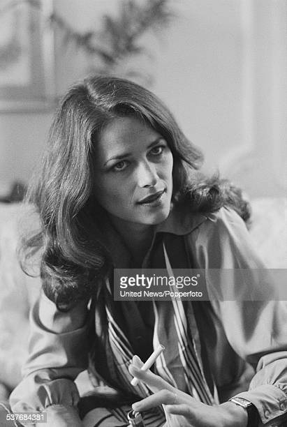 English actress Charlotte Rampling pictured being interviewed in London on 9th March 1976