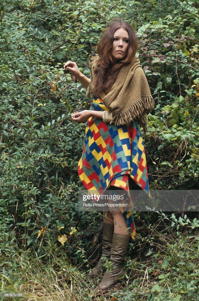 English actress <a gi-track='captionPersonalityLinkClicked' href=/galleries/search?phrase=Diana+Rigg&family=editorial&specificpeople=206289 ng-click='$event.stopPropagation()'>Diana Rigg</a>, who plays the character of Helena in Peter Hall's film version of William Shakespeare's play 'A Midsummer Night's Dream', pictured on location during production in England in October 1967.