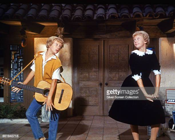 English actress Hayley Mills as identical twins Sharon McKendrick and Susan Evers in the Walt Disney comedy 'The Parent Trap' 1961
