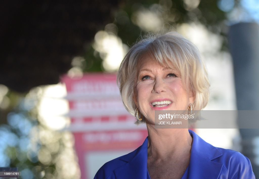 English actress Helen Mirren is honored on The Hollywood Walk Of Fame with a star on January 3, 2013 in Hollywood, California. Dame Helen Lydia Mirren, DBE, has won an Academy Award, four BAFTAs, three Golden Globes, four Emmy Awards, and two Cannes Film Festival Best Actress Awards.