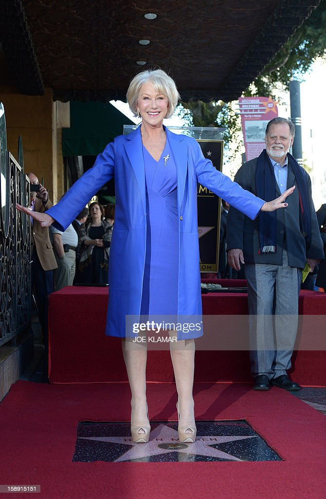 English actress Helen Mirren is honored on The Hollywood Walk Of Fame with a star on January 3, 2013 in Hollywood, California. Dame Helen Lydia Mirren, DBE has won an Academy Award, four BAFTAs, three Golden Globes, four Emmy Awards, and two Cannes Film Festival Best Actress Awards.
