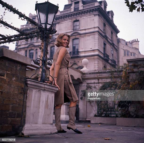 English actress Honor Blackman posed during the press launch of the television series The Avengers in Park Lane London in 1964
