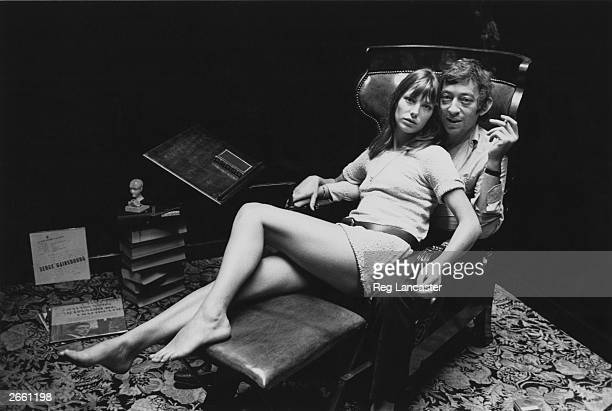English actress Jane Birkin and French singersongwriter Serge Gainsbourg at home in Paris
