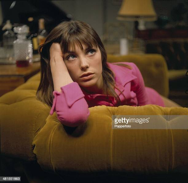 1968 English actress Jane Birkin posed on the set of the television drama series 'Armchair Theatre Recount' in 1968