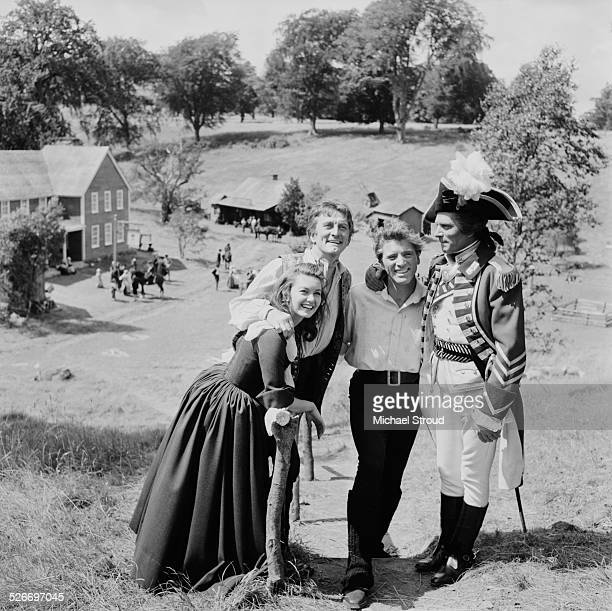 L R English actress Janette Scott American film and stage actor Kirk Douglas American actor Burt Lancaster and English actor Laurence Olivier on the...