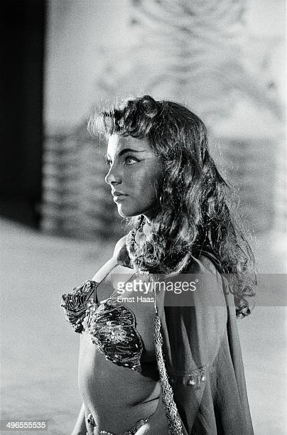 English actress Joan Collins stars as Princess Nellifer in the film 'Land of the Pharaohs' circa 1955