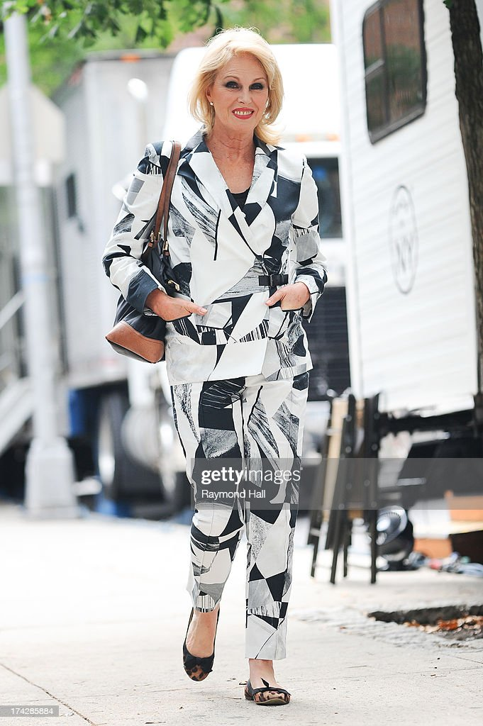 English Actress Joanna Lumley is seen on the set of 'Squirrels to the Nuts' on July 23, 2013 in New York City.