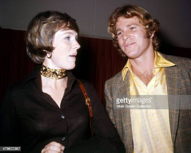 English actress Julie Andrews with American actor Ryan O'Neal circa 1972