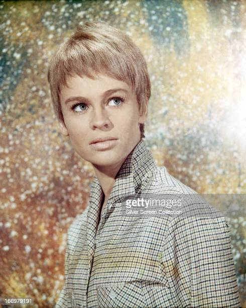 English actress Julie Christie wearing a short wig in a promotional portrait for 'Fahrenheit 451' directed by Francois Truffaut 1966