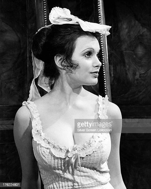 English actress Madeline Smith in a promotional portrait for 'Up The Front' directed by Bob Kellett 1972