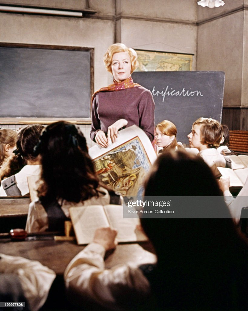 English actress <a gi-track='captionPersonalityLinkClicked' href=/galleries/search?phrase=Maggie+Smith&family=editorial&specificpeople=206821 ng-click='$event.stopPropagation()'>Maggie Smith</a> as Jean Brodie in a classroom scene from 'The Prime Of Miss Jean Brodie', directed by Ronald Neame, 1969.