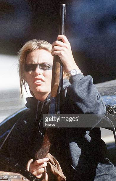 English actress Patsy Kensit on the set of one of her films circa 1992