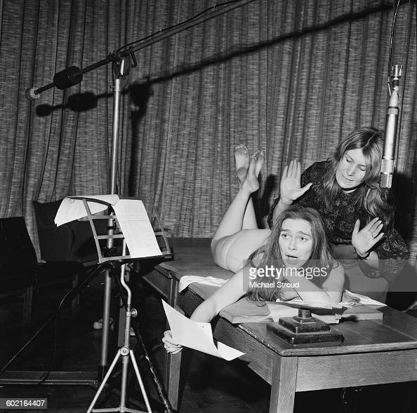 English actress Sheila Allen plays The Masseuse and Rosalind Shanks plays The Nude in the radio play 'La Recreation' London UK 14th January 1971