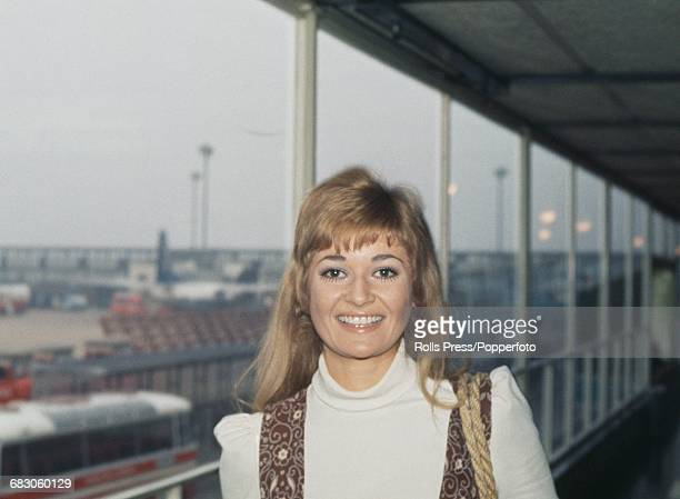 English actress Stephanie Beacham who appears in the film 'The Nightcomers' pictured at Heathrow Airport in London on 15th April 1971