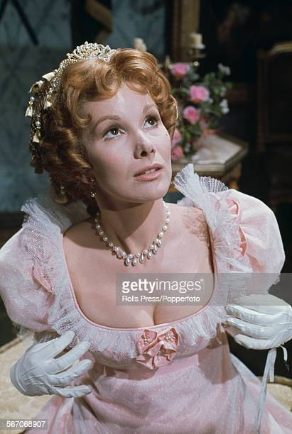 English actress Susan Hampshire pictured wearing period costume dressed in character as Becky Sharp on the set of the BBC television dramatisation of...