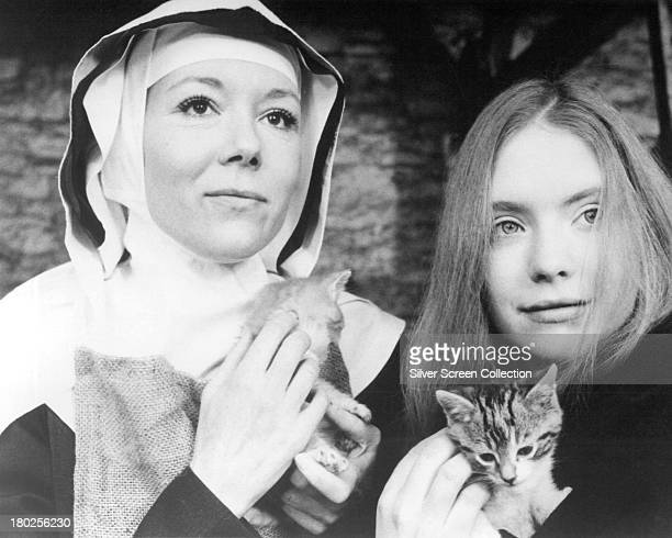 English actresses Diana Rigg as Dame Phillipa and Judi Bowker as Joanna in the TV movie 'In This House Of Brede' directed by George Schaefer 1975