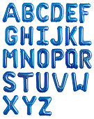 English alphabet from blue shiny balloons