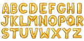 English alphabet from golden balloons isolated on white background
