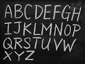 English alphabet on blackboard