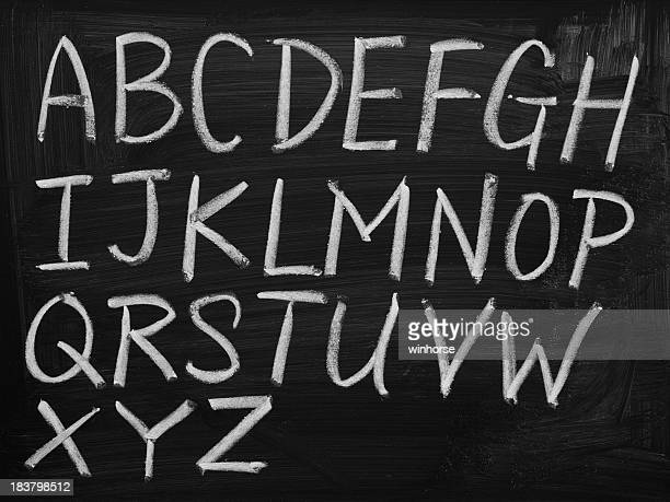 English alphabet on blackboard