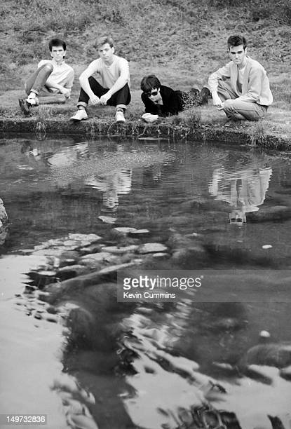 English alternative rock band The Smiths 7th September 1983 Left to right drummer Mike Joyce bassist Andy Rourke guitarist Johnny Marr and singer...