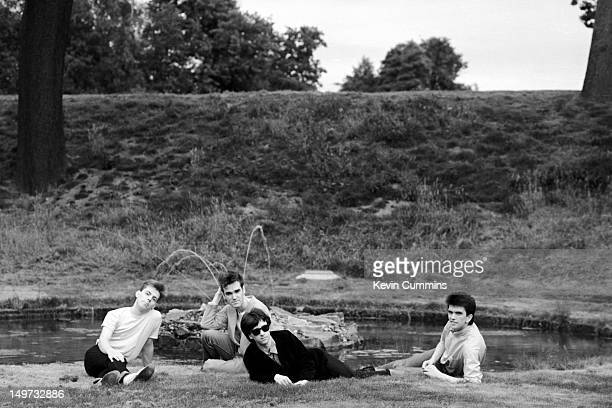 English alternative rock band The Smiths 7th September 1983 Left to right bassist Andy Rourke singer Morrissey guitarist Johnny Marr and drummer Mike...