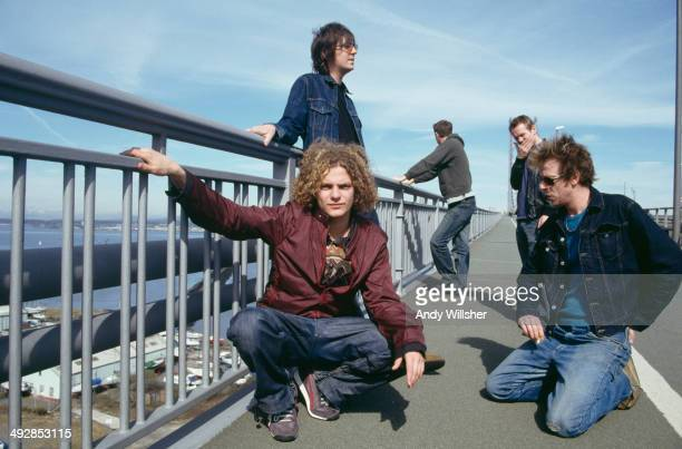 English alternative rock group Toploader circa 2000 Clockwise from front left singer Joseph Washbourn guitarist Dan Hipgrave guitarist Julian Deane...