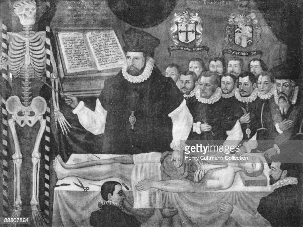 English anatomist John Banester delivers the Visceral Lecture at the BarberSurgeons' Hall in London 1581