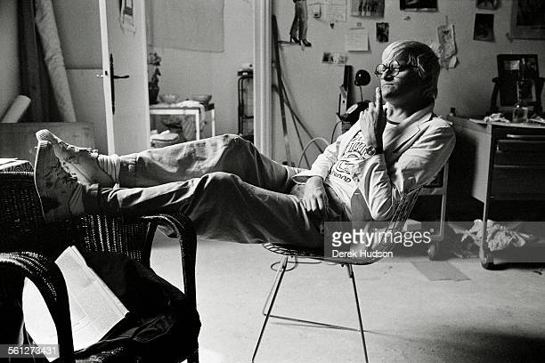 English artist David Hockney photographed in his rented atelier in the heart of St Germain Paris in 1979