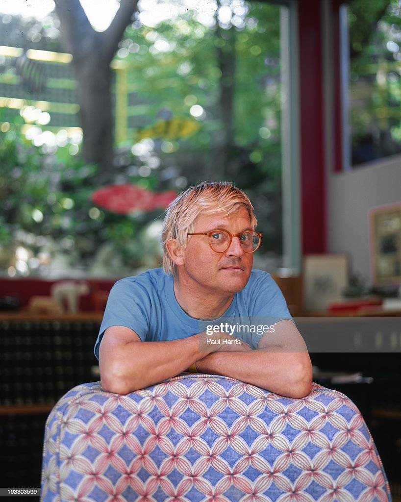 English artist <a gi-track='captionPersonalityLinkClicked' href=/galleries/search?phrase=David+Hockney&family=editorial&specificpeople=215305 ng-click='$event.stopPropagation()'>David Hockney</a> poses for a portrait in the living room of his Hollywood Hills home in April 1991, in Los Angeles, California.