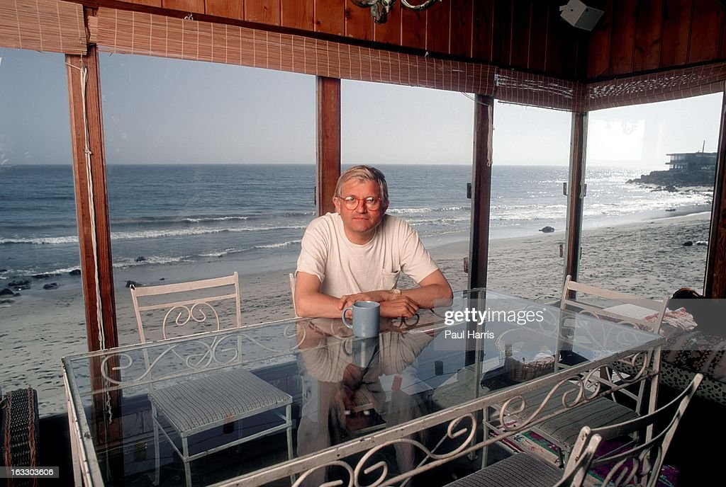 English artist David Hockney poses for a portrait in the solarium of his beach house in April 1991 in Malibu California