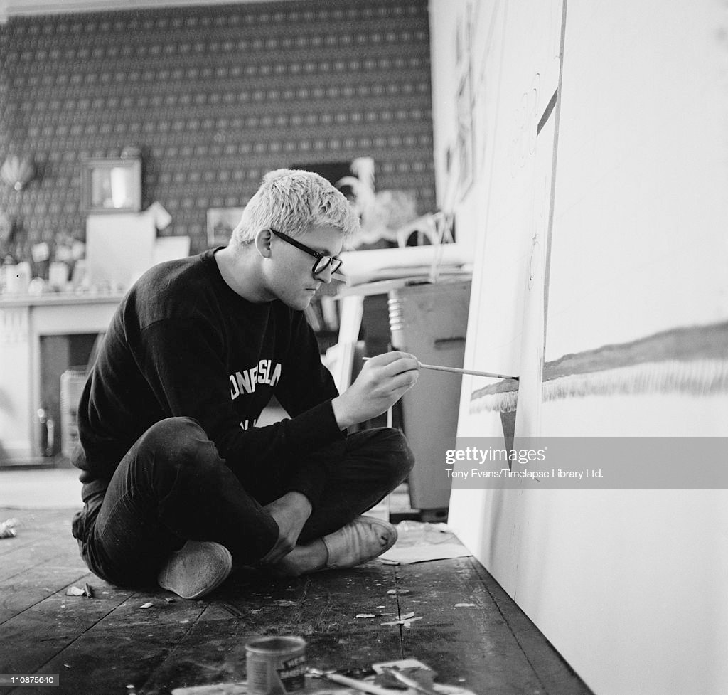 English artist <a gi-track='captionPersonalityLinkClicked' href=/galleries/search?phrase=David+Hockney&family=editorial&specificpeople=215305 ng-click='$event.stopPropagation()'>David Hockney</a> working in a studio, circa 1967.
