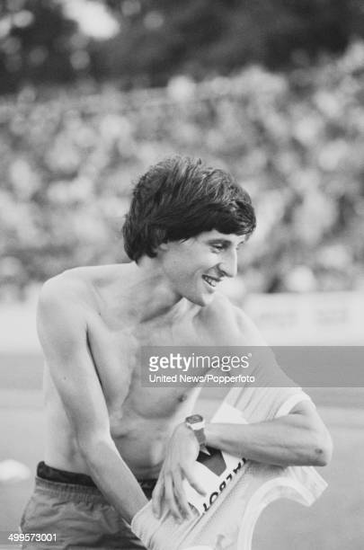 English athlete Sebastian Coe pictured participating in a race meeting at Crystal Palace athletics stadium in London on 20th August 1982