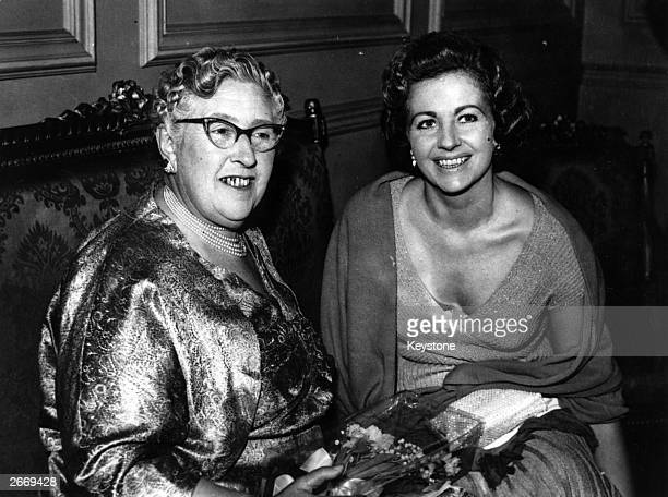 English author Agatha Christie with actress Margaret Lockwood at the opening night of her play 'Towards Zero' at St James' Theatre London