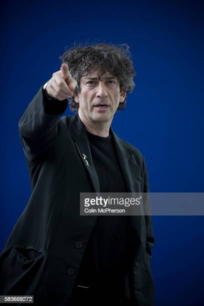 English author of short fiction novels comic books graphic novels audio theatre and films Neil Gaiman pictured at the Edinburgh International Book...