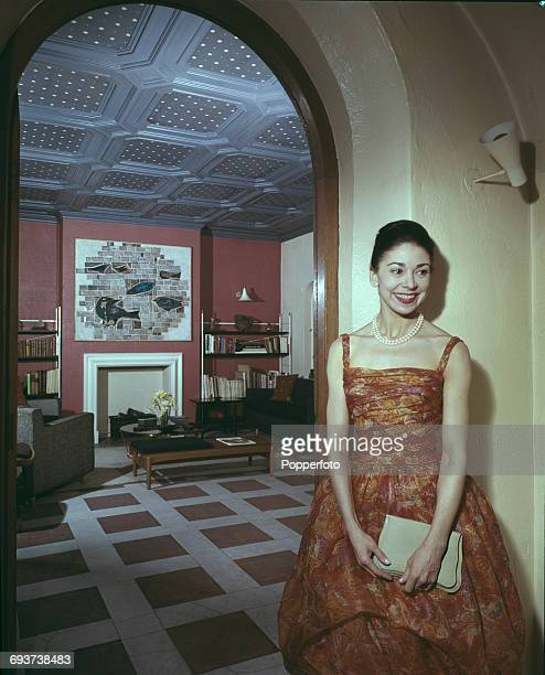 English ballerina Dame Margot Fonteyn pictured at home in London in 1961