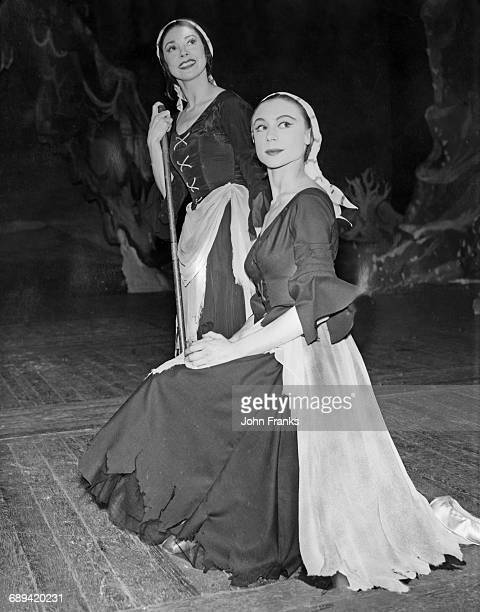English ballerina Margot Fonteyn and Lithuanianborn British ballerina Svetlana Beriosova during rehearsals for the ballet 'Cinderella' at the Royal...
