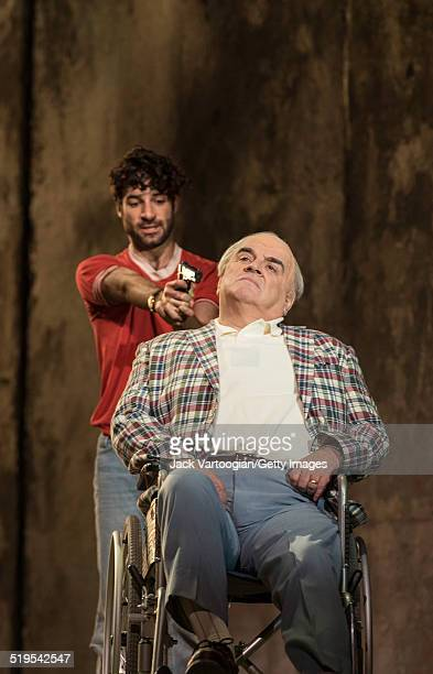 English baritone Alan Opie and American tenor Jesse Kovarsky perform during the final dress rehearsal for the Metropolitan Opera's premiere of 'The...