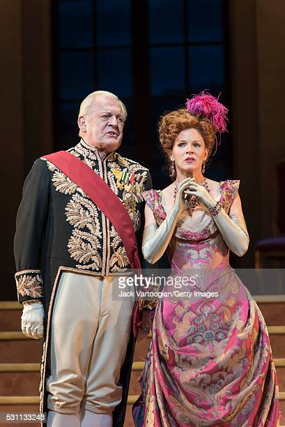 English baritone Sir Thomas Allen and American stage actress Kelli O'Hara in her Met Opera debut perform at the final dress rehearsal prior to the...