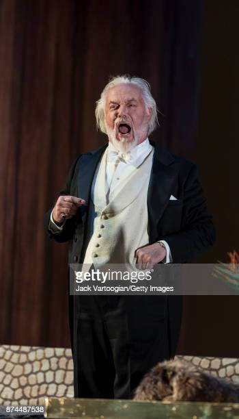 English bass Sir John Tomlinson performs at the final dress rehearsal prior to the US premiere of 'The Exterminating Angel' at the Metropolitan Opera...