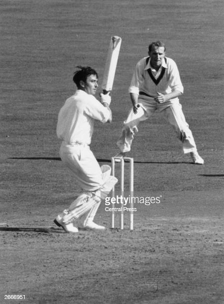 English batsman Denis Compton batting at the Oval cricket ground London during the England v Australia Final Test match England went on to win the...