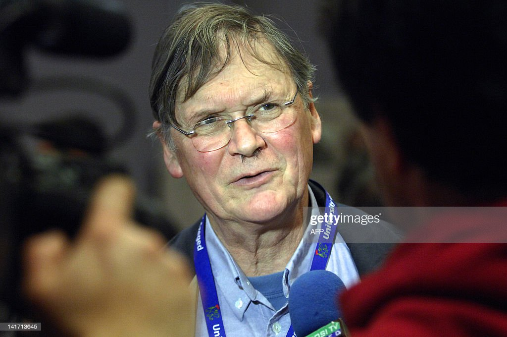 English biochemist the Nobelprize winner Sir Richard Timothy 'Tim' Hunt meets with the press at the Jozsef Attila Study and Information Centre of...