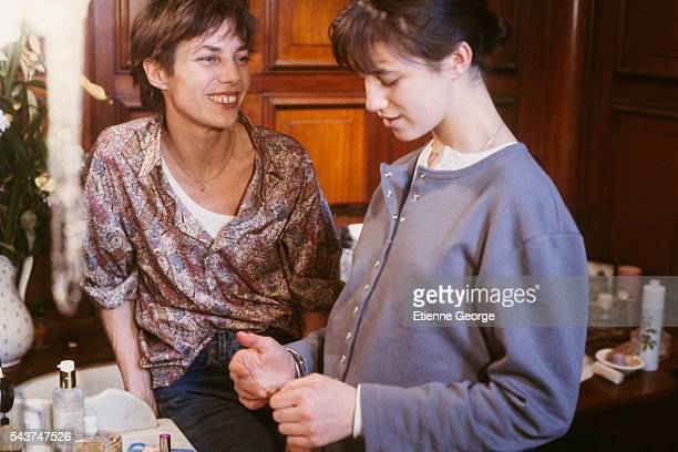 English born actress Charlotte Gainsbourg with her mother actress and singer Jane Birkin on the set of the film 'Jane B par Agnès V' directed by...